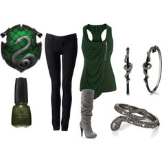Casual Slytherin. I am fairly certain I would not be deemed a slytherin but I like this outfit nonetheless. :)