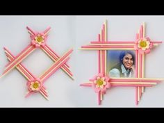 Make Awesome Photo Frame with Paper Sticks # DIY Paper Photo Frame Making Easy tutorial Paper Photo Frame Diy, Photo Frame Decoration, Photo Frame Crafts, Diy Photo Frame Cardboard, Photo Frames For Kids, Best Photo Frames, Simple Photo Frame, Craft Stick Crafts, Crafts For Kids
