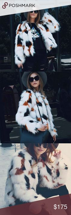 New Gorgeous faux fur coat New gorgeous faux fur coat. In style and on trend. Versatile staple piece, dress up or down wear virtually any where.  Material is faux fur Jackets & Coats