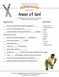 Enjoy our free Bible Quiz: Armor of God. Fun for kids to print and test their knowledge. Homeschool resources and activities. Enjoy our free Bible Quiz: Armor of God. Fun for kids to print and test their knowledge. Homeschool resources and activities. Sunday School Kids, Sunday School Activities, Sunday School Lessons, Bible Study For Kids, Bible Lessons For Kids, Kids Bible, Kids Church Lessons, Children Church, Bible Activities For Kids