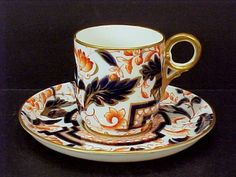 Fabulous 1700s WORCESTER T & B Hand Painted IMARI Inspired Cup & Saucer #Worcester