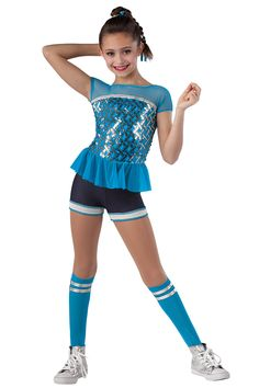 15306 Jenny From The Block | Tap Jazz Funk Hip Hop Dance Costumes | Dansco 2015 | Denim and solid color spandex short unitard with silver/color sequin on mesh overlay, solid mesh yoke and peplum and merrowed edges. Silver metallic spandex binding trim. 15303-Peacock 15304-Lime 15305-Orange 15306-Hot Pink Socks and binding for hair included.