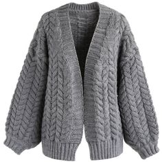 Chicwish Nice to Knit You Chunky Cardigan in Grey (738.345 IDR) ❤ liked on Polyvore featuring tops, cardigans, grey, grey cardigan, cardigan top, chunky-knit cardigans, chunky cardigan and grey knit cardigan