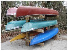 DIY kayak and canoe rack Kayak Camping, Canoe And Kayak, Kayak Fishing, Kayak Storage Rack, Kayak Rack, Kayak Stand, Oregon Coast Camping, Kayaking Tips, Kayak Tours