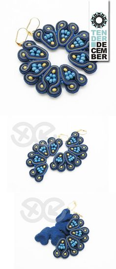 Items similar to OOAK blue and gold semicircle soutache earrings, navy blue round earrings, textile jewelry blue earrings, blue soutache, unique artwork on Etsy Soutache Earrings, Blue Earrings, Round Earrings, Handmade Gifts, Handmade Items, Chanel Jewelry, Jewelry Shop, Jewellery, Textile Jewelry