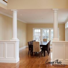 Lofts, Open Kitchen And Living Room, Half Wall Kitchen, Kitchen Walls, Interior Columns, Panel Moulding, Moldings, Half Walls, Room Additions