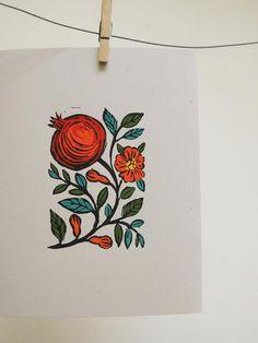 Pomegranate gardening art hand block printed hand colored original botanical art print on recycled stock Pomegranate Drawing, Pomegranate Tattoo, Pomegranate Art, Linocut Prints, Art Prints, Block Prints, Watercolor Painting Techniques, Guache, Fruit Art