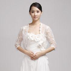 Elegant 3/4 Sleeve Lace Evening/Wedding Jacket/Wrap(More Colors) – USD $ 69.99