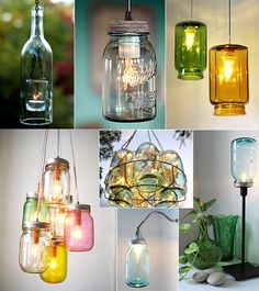 cool ideas for mason jars Do It Yourself Projects, Diy Projects To Try, Project Ideas, Mason Jar Lighting, Mason Jar Lamp, Cool Ideas, Do It Yourself Wedding, Deco Originale, Jar Lights