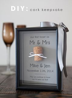 Cork keepsake frame.. for the special corks from bottles you have opened together.. could do it with bottlecaps too