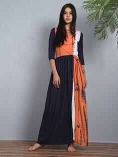 Navy Blue Orange Modal Silk Noor Slit Tunic