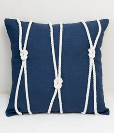 Your favorite Country Curtains now at The Vermont Country Store Navy Rope Trimmed Pillow, perfect for a nautical theme room. Nautical Bathroom Design Ideas, Nautical Bathrooms, Nautical Design, Nautical Bedroom Decor, Nautical Colors, Nautical Office, Nautical Home, Vintage Nautical, Nautical Style