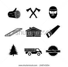 Lumberjack icon set vector icon, log, logging, bark, pile, lumberjack, saw, vector, axe, wood, set, chainsaw, lumberyard, lumber, tree, pick-up, tool, business, sign, symbol, black, plank, equipment, beard, illustration, circular, pine, forest, cutting, design, carpenter, house, work, man, construction, material, isolated, electric, truck, carpentry, white, woodworking, jack, stump, building, deforestation, woodcutter, industry, nature, timber