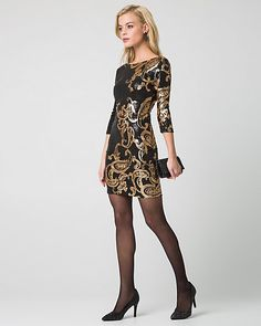 Paisley Print & Sequin Cocktail Dress - An embellished paisley print lends chic and festive appeal to this fun and eye-catching style.