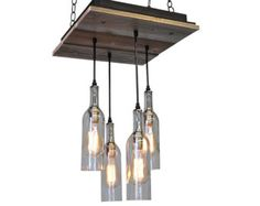 Recycled Wine Bottles With Reclaimed Wood Chandelier - Rustic Lighting