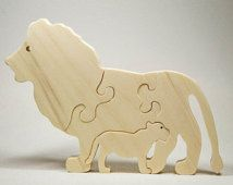 Wooden Animal Puzzle Lion Personalize for Nursery Decor, Baby Shower, Christmas