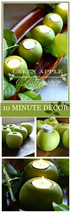 Put together these DIY green apple candles for a festive natural centerpiece for your Thanksgiving table decor. Apple Centerpieces, Apple Decorations, Christmas Decorations, Apple Theme, Harvest Party, Green Party, Diy Candles, Green Candles, Diy Décoration