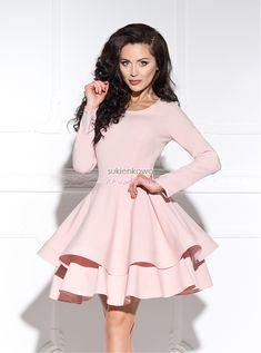 3137787357 Sukienkowo.com - LUNA - sukienka podwójnie rozkloszowana z długim rękawem  różówa