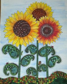 Zentangle sunflowers I used watercolors and blend-able markers.