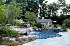 sun ledge pool pics   Natural inground pool design with slide waterfalls sun shelf and ...