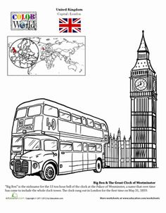 Second Grade Fourth Grade Places Geography Worksheets: London Coloring Page