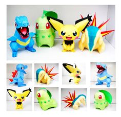 Johto Starters and Spiky-Ear Pichu Papercraft by thepapersmith.deviantart.com on @deviantART