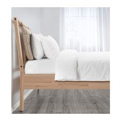 IKEA BJÖRKSNÄS bed frame Made of solid wood, which is a hardwearing and warm natural material. Full Bed Frame, King Size Bed Frame, Bed Storage, Storage Boxes, Scandinavian Bedding, Scandinavian Bed Frames, Ikea Family, Teen Bedding, Bedding Sets