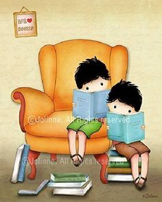 """Personalized Kids Room Decor Brothers Boys Reading Nursery Art Children's Library Poster Unframed 8""""x10""""/ 11""""x14""""/ 16""""x20"""" Print Custom Hair Skin Color. """"We love books"""" (2 boys version) Art Print - The perfect addition to any boys or brothers room! *Available in a variety of different hair/skin colors, this personalized art will look fantastic anywhere! *Printed on photographic Luster paper using pigment ink, guaranteed to last forever so it's rich details and vibrant colors can grace…"""