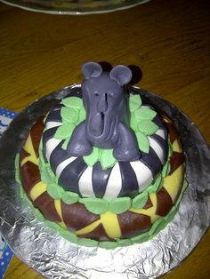Liam's 2nd birthday cake - marshmallow fondant meant he could eat the rhino and not be bilious!