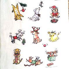 "Festive Christmas Dogs Flour Sack Dish Towel Tea Towel - 28"" x 29"""