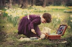 basket, bear, child, daffodils, dress, flowers