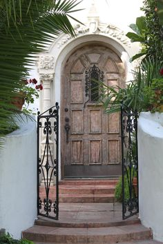 00077 - Arched Wooden Door with Gate by emstock on DeviantArt Wooden Arch, Wooden Gates, Wooden Doors, Unique Doors, House Entrance, Tiny Houses, Deviantart, Garden, Home