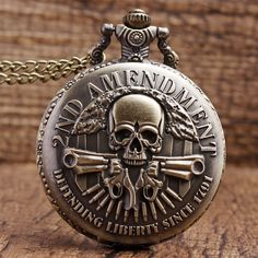 New Arrived Fashion DEFENDING LIBERTY SINCE 1791 2nd AMENDMENT MILITARY Gun Skull Quartz Necklace Mens Women Pocket Watch Gifts
