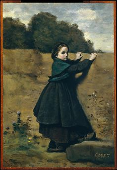 """The Curious Little Girl"" by Camille Corot (1860-1864) at the Metropolitan Museum of Art, New York - From the curators' comments: ""Although Corot had always made figure studies, at the end of his life he painted a large number of genre scenes for eager collectors. His friends recalled that he looked forward to them as a refreshing holiday from routine. The girl here closely resembles Emma Dobigny, who later became a favorite model."""