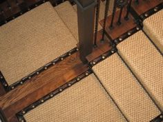 Sisal stair runner - leather and nailhead detailing