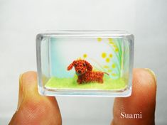 Extreme Tiny Dachshund Sausage Dog  Micro crocheted Red by suami, $38.00