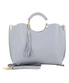 bd94647cf3c3 MKF Collection Blue Gray Round-Handle Tassel Tote. Embellished ...
