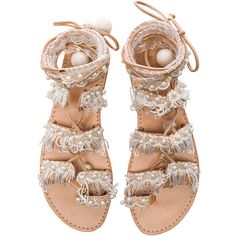 Elina Linardaki Leather Ever After Sandals (670 TND) ❤ liked on Polyvore featuring shoes, sandals, flats, flat sandals, sapatos, leather sandals, leather fringe sandals, wrap around sandals, lace up sandals and fringe flat sandals