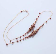 su/necklace 60cm K14GF ガーネット 16800yen リズム感が生まれる天然石を贅沢に使用したネックレス