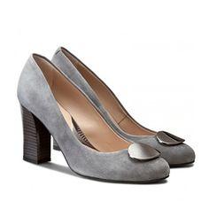 Pantofi de catifea cu toc gros mediu gri Peep Toe, Casual, Shoes, Fashion, Moda, Zapatos, Shoes Outlet, Fashion Styles, Shoe