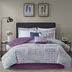 Madison Park Alexandra Berry (Pink) 8 Pieces Cotton Percale Printed Duvet Cover Set - Filler Not Included (Full/ Queen - Berry) Bed Comforter Sets, Down Comforter, Comforter Cover, Duvet Cover Sets, Bedroom Comforters, Urban Outfitters, Purple Bedding, Paisley Bedding, Luxury Bedding
