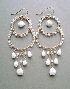 White Gemstone Chandelier Earrings Silverite by BellaAnelaJewelry
