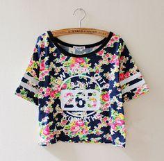 14 nuevas mujeres del verano camiseta corta de algodón de manga estampado de flores de época T número de la camiseta ropa camuflaje Harajuku tapas lindas(China (Mainland))