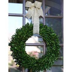 "Garden Variety Boxwood Wreath with Burlap Hanger -22"" – Flora Decor"