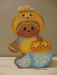 HP GINGERBREAD SHELF SITTER EASTER CHICK SUIT BABY CHICKS HANDPAINTED in Handpainted Items | eBay