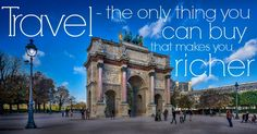 'Travel - the only thing you can buy that makes you richer' - We love this anonymous inspirational travel quote Singapore City, Dubai City, Tour Quotes, Budapest City, Prague City, Athens City, Los Angeles Hollywood, Stockholm City, Sightseeing Bus