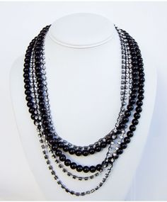 Layered bead and rhinestone statement necklace