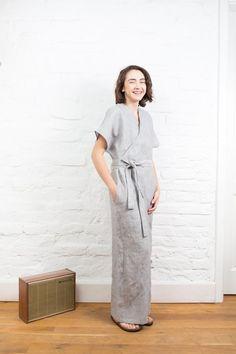 bccb5268fab5 Wrap linen jumpsuit with pockets   Long linen overall   Vegan linen romper  women clothing