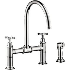 Rohl U.4718X-PN-2 Perrin Rowe Deck Mount Bridge Kitchen Faucet w/side Spray