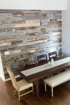 """Stikwood peel and stick wood wall! """"We're loving it and anyone who sees it FREAKS out!""""-Stephen & Chelsey"""